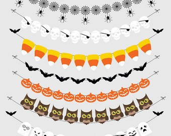 Halloween Bunting Banners Cliparts Pack, Owls, Ghosts, Bats, Pumpkin, Candycorn, Transparent Backgrounds, Instant Download.  Commercial Use