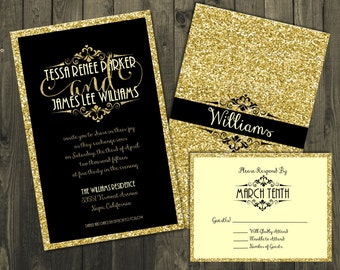 Black and Gold Wedding Invitation, Wedding Invitations, Glitter Wedding Invitations, Gold Glitter Wedding Invitations