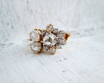 Antique Diamante 3 Big Rose Cut Diamonds on New Setting in 14K Gold in US Ring Size 5.5