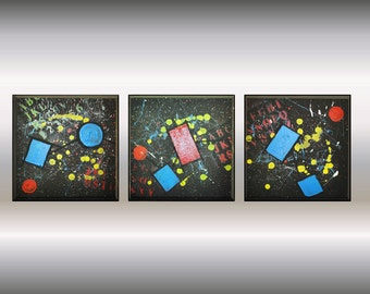 "Abstract Painting acrylic painting wall art canvas art painting Contemporary Modern Colorful  12x 36"" stretched canvas FREE SHIPPING"