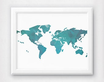 World Map Art, World Map Poster, Large Map Poster, Printable Map, Turquoise Map, Geometric Decor, Blue Print, Blue Map Print, Teal Map Print