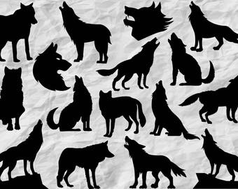 16 Wolves Silhouettes | Wolf SVG cut file | printable images | vector files | digital | wall print | vinyl design | print | forest animals