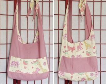 Recycled Fabric Hobo Sling Bag, Pink Crossbody Bag, Reversible Bag, Animal Bag, Slouch Bag with Pockets, Large Handmade Bag, Ecofriendly Bag