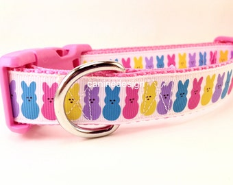 Easter Dog Collar, Easter Bunny, 1 inch wide, adjustable, quick release, metal buckle, chain, martingale, hybrid, nylon