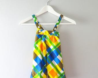 Vintage Baby Clothing | 1960s Blue Yellow Plaid Overalls Mod - 0 to 3 mos Deadstock