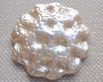 NBS Award 85 Large Pearlized Glass Button.  Cream Pearlized Button.  Great Pressed Design and Great Shape.  OneWomanRepurposed B 836