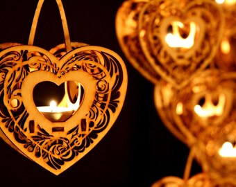 Heartstrings, Hanging Tealight Luminaire kits. Natural wood model kit you punch out and snap together!