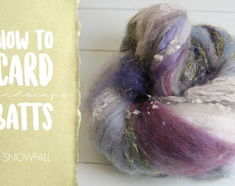 How to Card SNOWFALL Art Batt on a Drum Carder - One Technique from Carding Landscapes Masterclass
