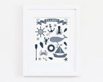Nautical Nursery Art Print, Personalized Name Art, Nautical Art - Custom Name Print - Baby Boy Nursery, Baby Girl Nursery, Kids Wall Art