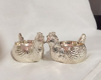 Rooster Egg Cup/Set Egg Cups/Metal Egg Cups Silvertone/ Egg Holder/ Made In England /PAIR By Gatormom13