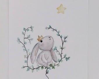 Watercolor forest grey rabbit illustration