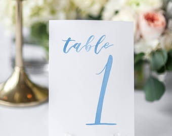 Watercolor Wedding Table Numbers LIGHT BLUE 1-10 // table cards // wedding // table numbers // paper table cards // watercolor card
