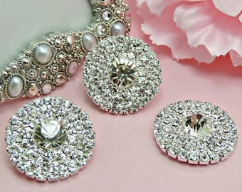 Large Elegant Rhinestone Flat Back Embellishments For DIY Bling Accessories Button Bouquets Brooch Bouquet Bridal Buttons Coat Buttons 28mm