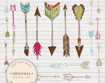 Premium Bohemian Arrows Clip Art & Vectors - Arrow Clipart, Tribal Clipart, Arrow Vectors, Arrow Clip Art, Native American Clip Art