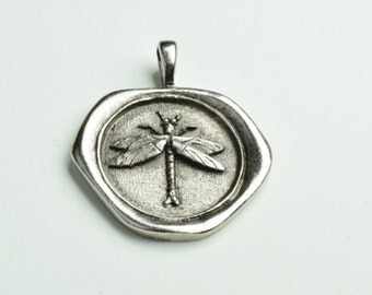 Dragon Fly Wax Seal pendant, MADE IN USA 35mm, 1 each