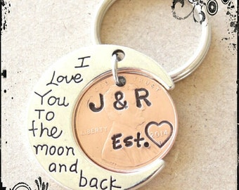 Custom Anniversary Keychain, I Love you to the moon and back, gift for him, boyfriend gift, husband gift, Valentines Day