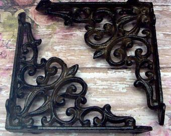 "Wall Bracket Cast Iron Shelf Ornate FDL Scroll 5 5/8"" x 5 5/8"" Brace All Natural Raw Do it Yourself Brackets 1 Pair (2 individual brackets)"