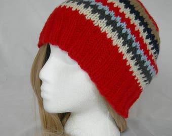 Red Cashmere Fair Isle Soft Beanie Navy White Gray winter hat hand knit beanie