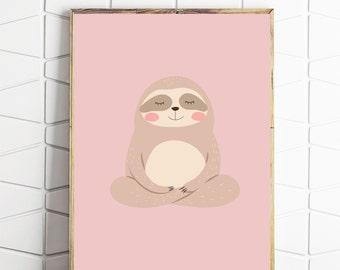 sloth printable, sloth wall art, sloth digital art, sloth download, sloth kids art, pink sloth decor
