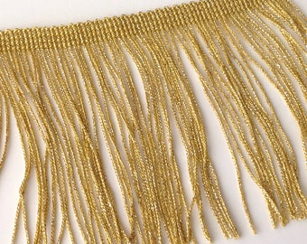 Braid has fringed gold Lurex metallic gold 10 cm, sold by the yard