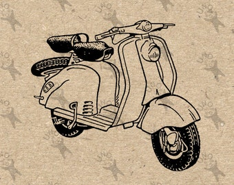 Retro drawing Moped Vespa Scooter vintage Instant Download Digital printable clipart graphic scrapbooking burlap kraft totes towels HQ