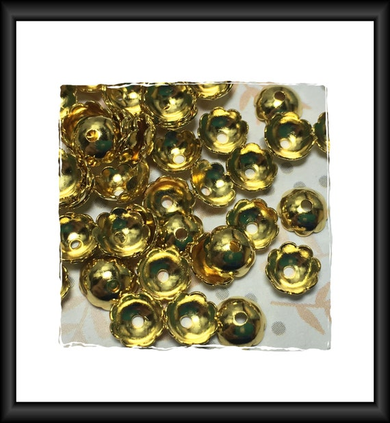 Gold Plated 6 mm Bead Caps - 46 Caps