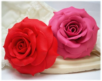 Large Rose Brooch - 2 Inch Rose, Assorted Flower Brooch Colors