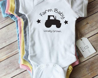 Short or Long Sleeve Farm Baby Cotton Bodysuit // Farm Baby Clothes // New Baby Gift // Farmer Baby/ Pink, Grey, Blue, Yellow or White