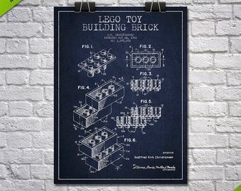 1961 Lego Toy Building Brick Patent poster,Patent Art Print, Patent Print, Blueprint, Wall Art, Home Decor, Gift Idea