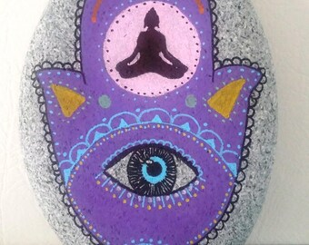 "Zen ""hamsa"" hand painted Pebble"