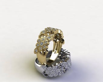 Diamonds flowers and Leaves Ring, White gold or yellow gold ring, diamonds in gold ring , wedding band flower power