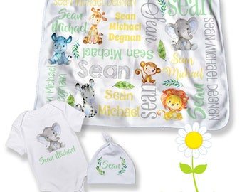 Safari baby gift etsy safari animal personalized baby blanket bodysuit hat custom name jungle animal swaddle set negle Images