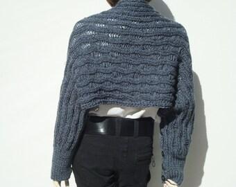 Scarf Shrug Bolero-Chunky Knit Shrug-Shrugs and Wraps-Shrug Sleeves-Shrugs and Boleros-Oversized Scarf Wrap-Knitted Shrug-Knit Shrug Bolero