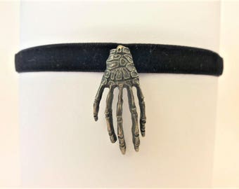 Skeleton hand necklace, goth choker, skeleton choker, black velvet choker, skeleton necklace, goth necklace, black lace choker, goth jewelry