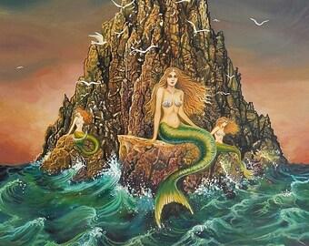 The Mermaids ATC ACEO Mini Print Altar Art Mermaid Mythology Art Nouveau Ocean Goddess Art