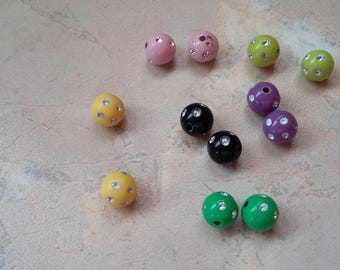 Beads acrylic Strass multicolored 10mm