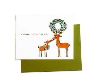 Couple's Christmas Card, Holiday Deer with Wreath Greeting Cards,  From the Two of Us