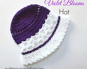 Crochet Pattern for Sunhat Newborn Violet Blooms to Adult PDF 16-237