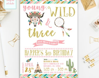 Young Wild and Three Birthday Invitation, Dreamcatcher Birthday Invitation, Third Birthday Invitations, Wild and Free Party Printable Invite
