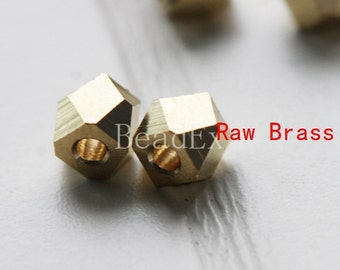 30 Pieces / Faceted Spacer / Faceted Round / Raw Brass / 4mm (C1701//P279)