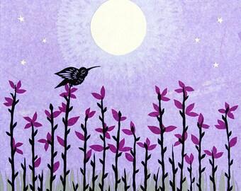 Moon Blossoms - 11 x 14 inch Cut Paper Art Print