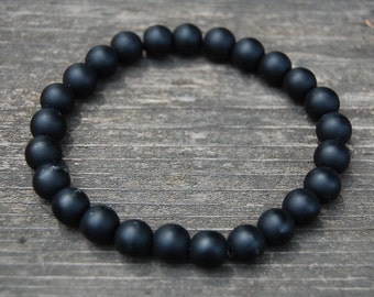 Black Onyx Bracelet,Gemstone Bracelet,8mm Beads,Stretch Bracelet,Boho,Man,Woman,Onyx Bracelet,Matte Onyx Bracelet,Unisex Beaded Bracelet