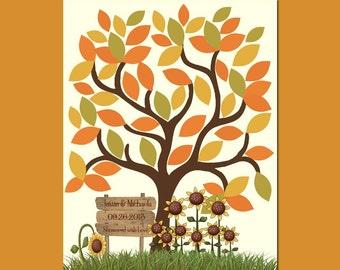 Small Fall Wedding Tree, Sunflower Wedding Shower Guestbook,  Sunflower Wedding Guest Signature Tree, 60 Leaf Guestbook Tree