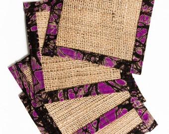 Set of 4 Burlap coasters - Up Cycled - Fabric Coaster - Drink Coaster - Housewarming Gift - Hostess Gift - Gift Under 25 - Purple