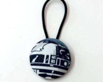 R2D2 Fabric Covered Giant Button Ponytail Holder