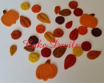 Fondant Pumpkins, Fall Mum Flowers and Autumn Fondant Leaves Cake Decorations, Chrysanthemum Flower Cake Toppers, Small Fall Cupcake toppers