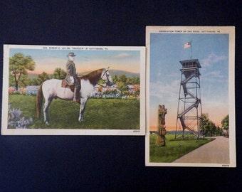 Gettysburg PA Postcards, Lot, Robert E. Lee with Traveler & Observation Tower, Message About Civil War Vets, 1930s, Vintage