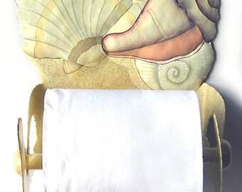 Toilet Paper Holder, Hand Painted Metal Art, Tropical Bathroom Decor, Shell Design, Haitian Art, Island Decor, Toilet Tissue Holder T1266-TP