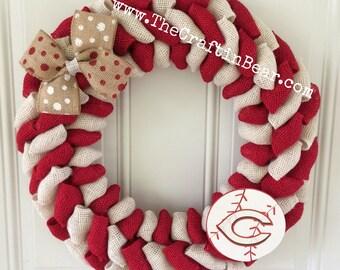 Cincinnati Reds burlap wreath - Cincinnati Reds wreath - Cincinnati Reds - Reds wreath - Reds decor - Cincinnati Reds decor - Reds burlap