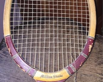1970s MILLION STROKE Wooden Tennis Racket Cool Retro Tennis Racket